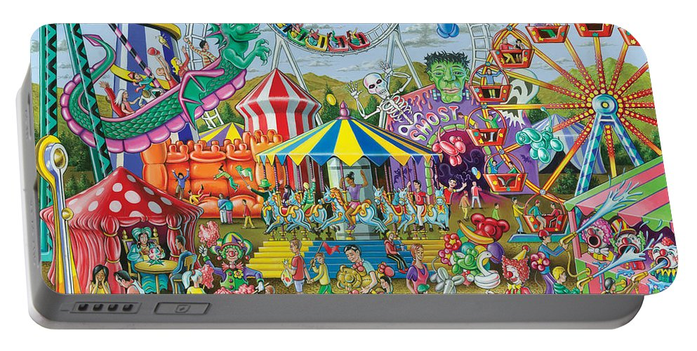 Animals Portable Battery Charger featuring the photograph Fun At The Fairground by MGL Meiklejohn Graphics Licensing