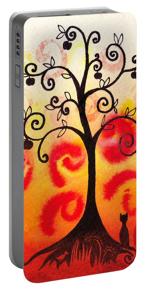 Tree Portable Battery Charger featuring the painting Fun Tree Of Life Impression Iv by Irina Sztukowski