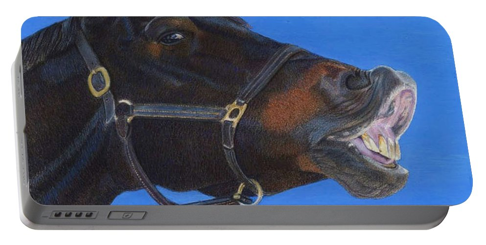 Horses Portable Battery Charger featuring the painting Funny Face - Horse And Child by Patricia Barmatz