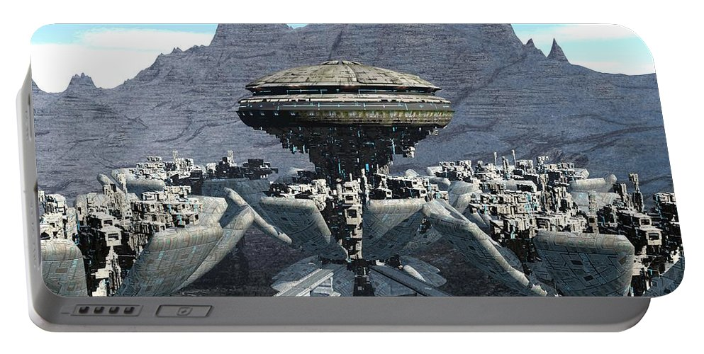 Digital Art Portable Battery Charger featuring the digital art Future Pod City by Michael Wimer