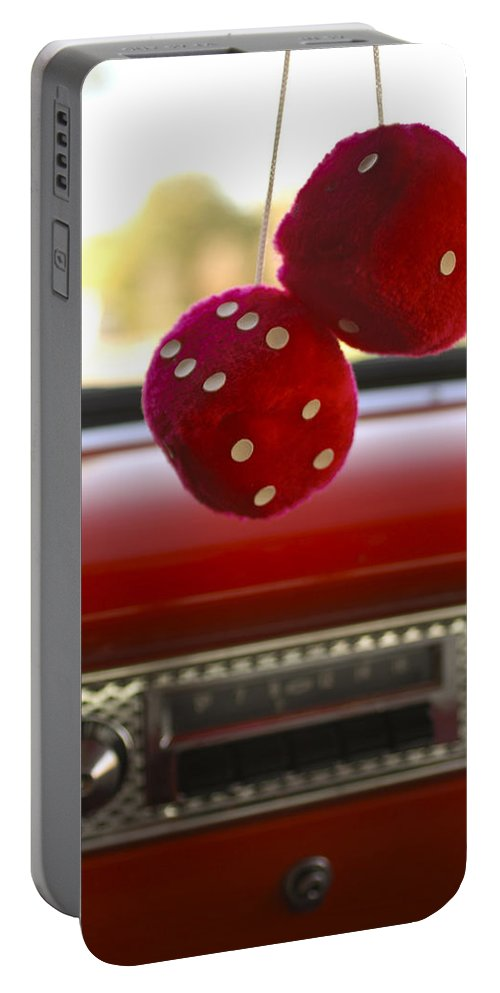 Fuzzy Dice Portable Battery Charger featuring the photograph Fuzzy Dice by Jill Reger