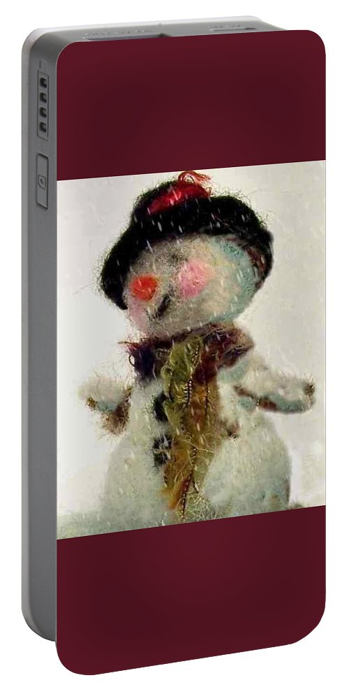 Snowman Portable Battery Charger featuring the photograph Fuzzy The Snowman by Mary Wolf