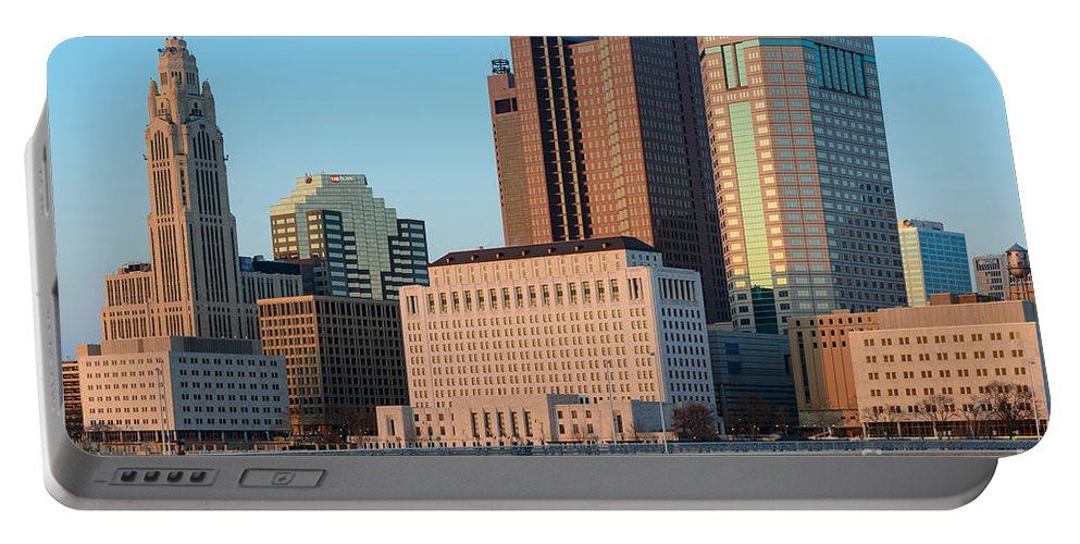 Buildings Portable Battery Charger featuring the photograph Fx1l922 Columbus Ohio Skyline Photo by Ohio Stock Photography