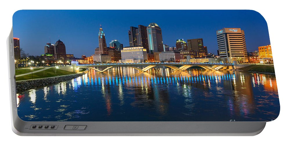 Columbus Portable Battery Charger featuring the photograph Fx2l472 Columbus Ohio Night Skyline Photo by Ohio Stock Photography