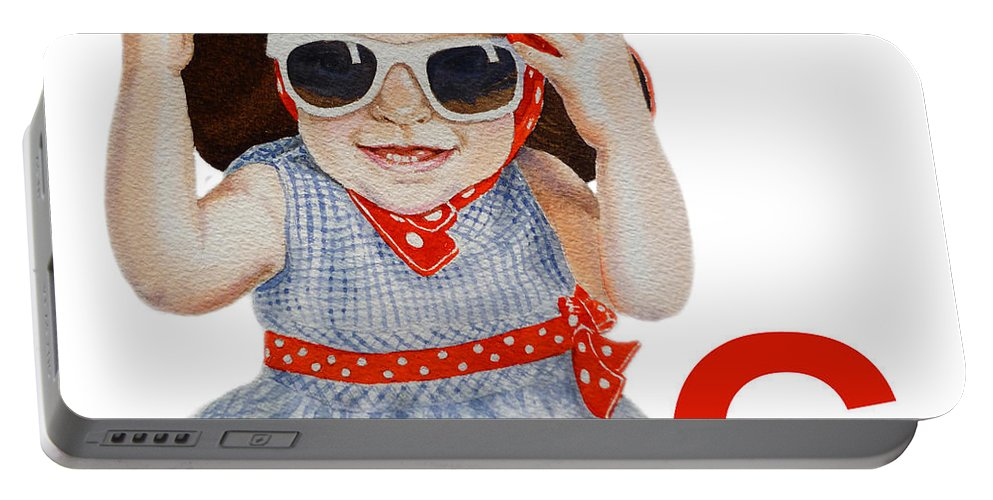 Alphabet Portable Battery Charger featuring the painting G Art Alphabet For Kids Room by Irina Sztukowski