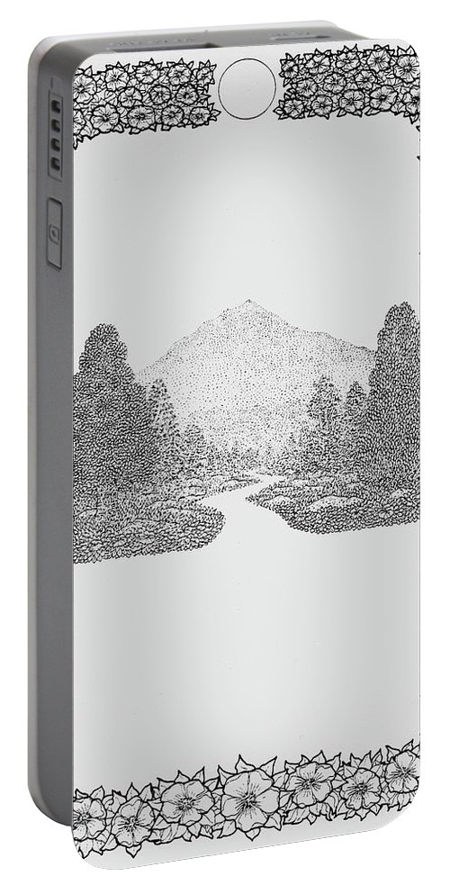 Trees Portable Battery Charger featuring the drawing Mountain Walk Border by Karma Moffett