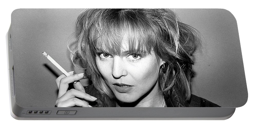 Black-white Portable Battery Charger featuring the photograph Gabby 1981 by Ed Weidman