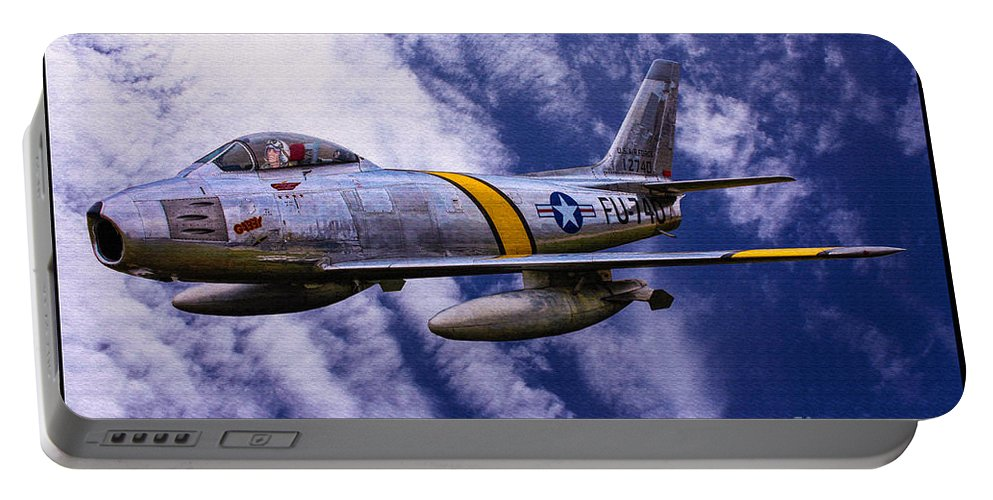 Gabby Gabreski Portable Battery Charger featuring the digital art Gabby's F-86e by Tommy Anderson