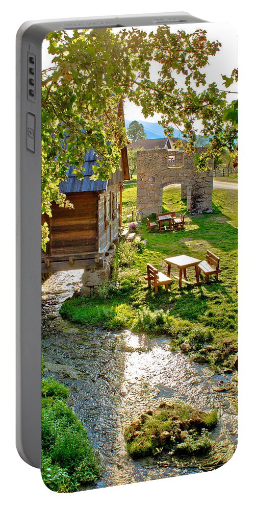 House Portable Battery Charger featuring the photograph Gacka River Spring Watermill And Historic Ruins by Brch Photography