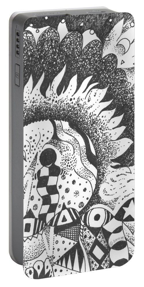 Abstract Landscape Portable Battery Charger featuring the drawing Gaining Knowledge In An Unknown Territory by Helena Tiainen