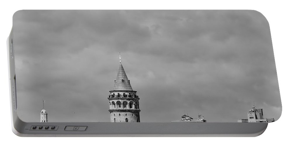 Galata Portable Battery Charger featuring the photograph Galata Tower Mono by Antony McAulay