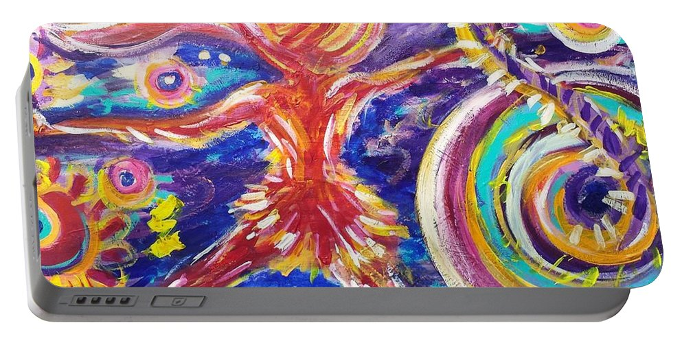 Absract Portable Battery Charger featuring the painting Galaxy Dancer by Jennifer Lombardo