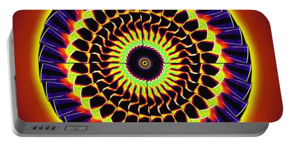 Sacredlife Mandalas Portable Battery Charger featuring the drawing Galaxy Spotlight Kaleidoscope by Derek Gedney