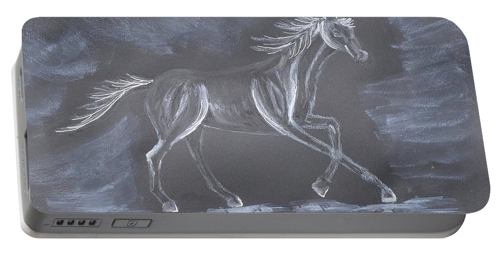 Galloping Horse Portable Battery Charger featuring the mixed media Galloping Horse by Sally Rice