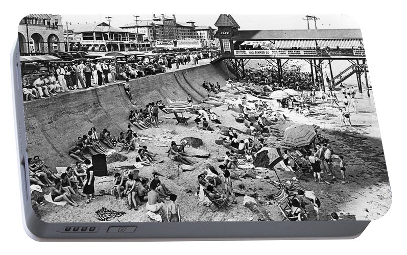 1930s Portable Battery Charger featuring the photograph Galveston Beach Scene by Underwood Archives