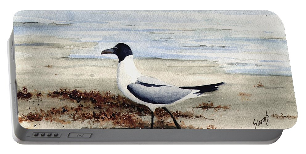 Gull Portable Battery Charger featuring the painting Galveston Gull by Sam Sidders