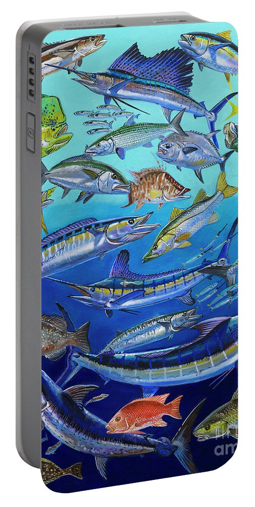 Gamefish Portable Battery Charger featuring the painting Gamefish Collage In0031 by Carey Chen