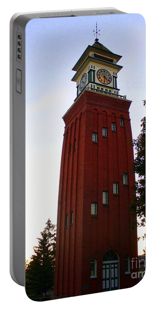 Landmark Portable Battery Charger featuring the photograph Gananoque Clock Tower by Lingfai Leung