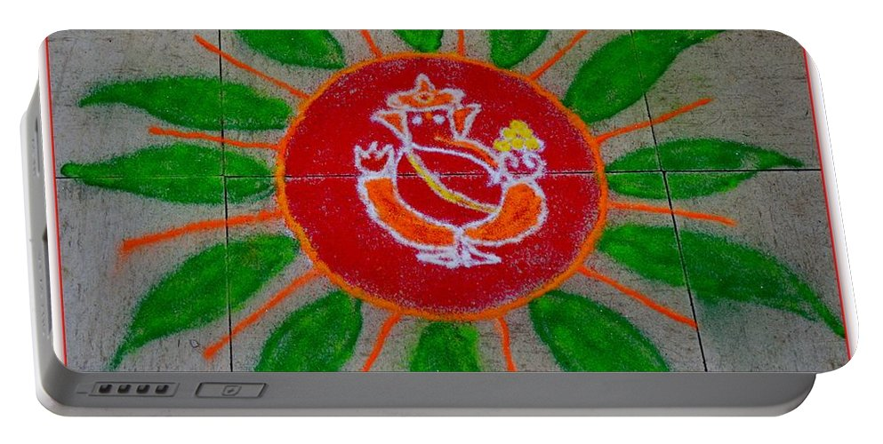 Rangoli Portable Battery Charger featuring the pastel Ganesh Rangoli by Sonali Gangane