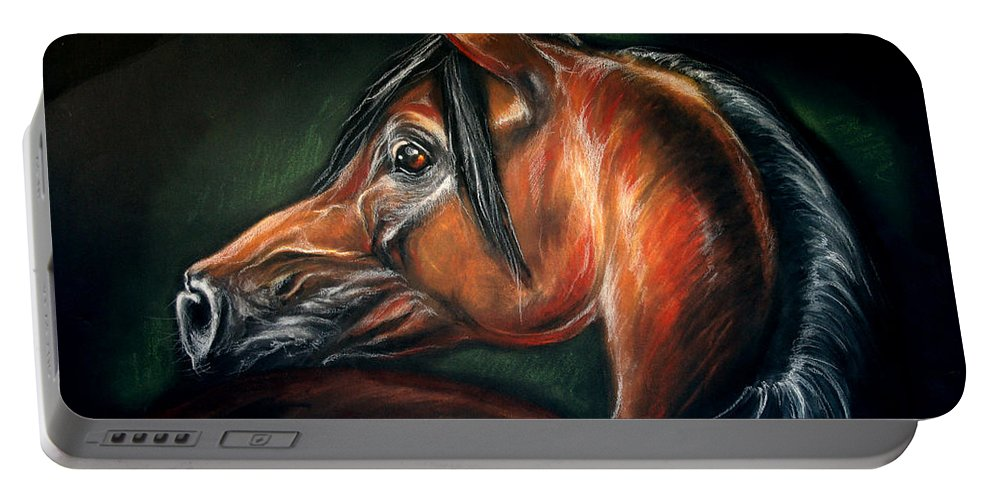 Horse Portable Battery Charger featuring the drawing Ganges by Angel Ciesniarska