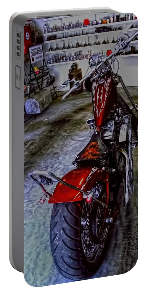 Morotcycle Portable Battery Charger featuring the photograph Garage Kept Chopper by Lesa Fine