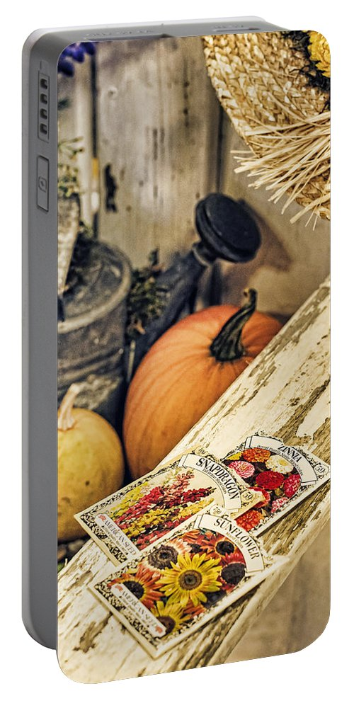 Garden Portable Battery Charger featuring the photograph Garden Bench by Heather Applegate