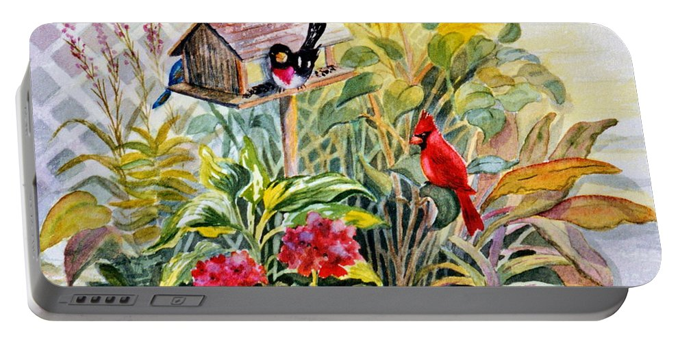 Birds Portable Battery Charger featuring the painting Garden Birds by Marilyn Smith