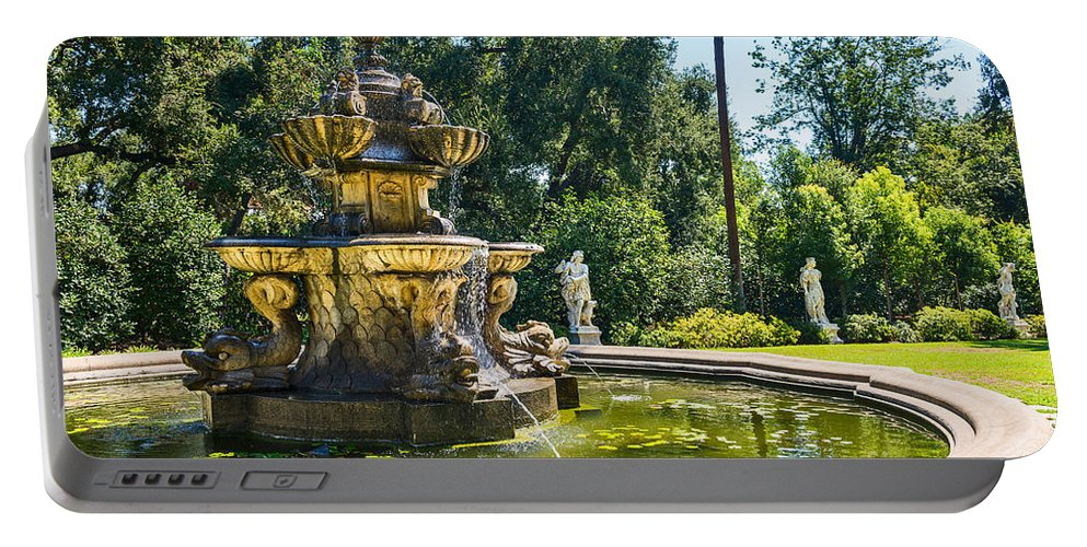 Large Portable Battery Charger featuring the photograph Garden Fountain - Iconic Fountain At The Huntington Library And Botanical Ga by Jamie Pham