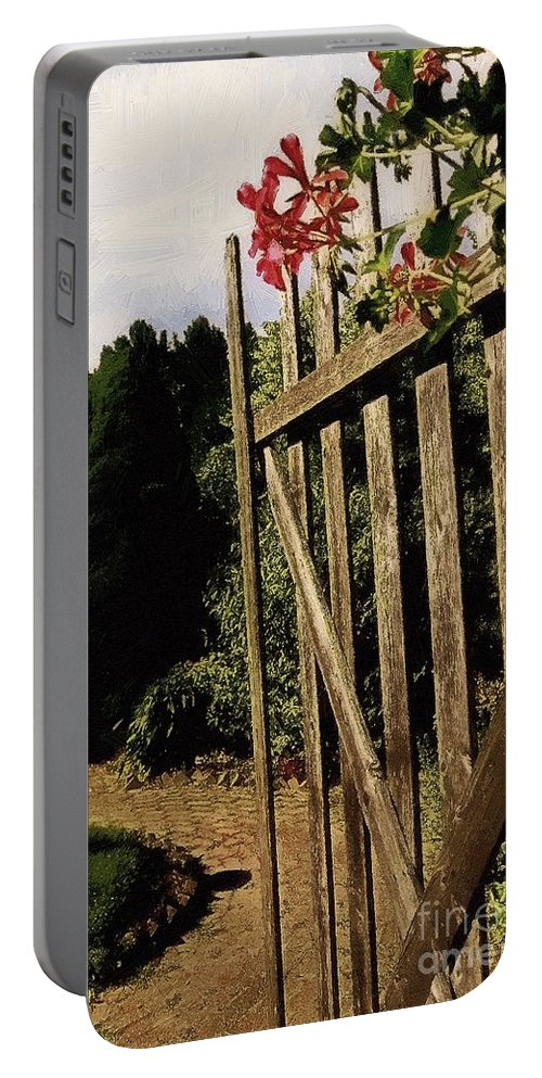 Cobblestones Portable Battery Charger featuring the painting Garden Gate Welcome by RC DeWinter