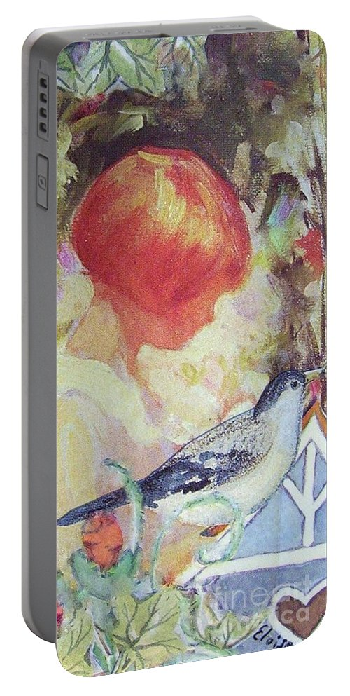 Collage Portable Battery Charger featuring the painting Garden Girl - Antique Collage by Eloise Schneider Mote
