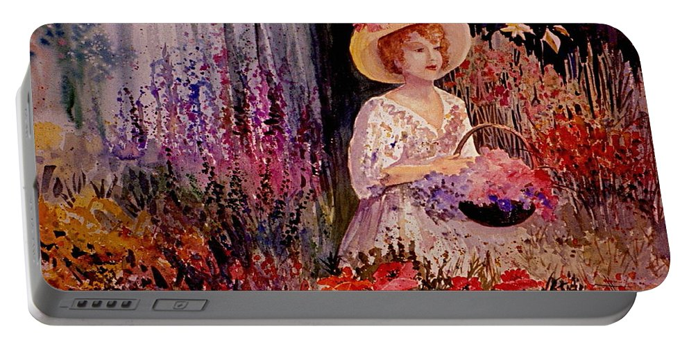 Garden Portable Battery Charger featuring the painting Garden Girl by Marilyn Smith