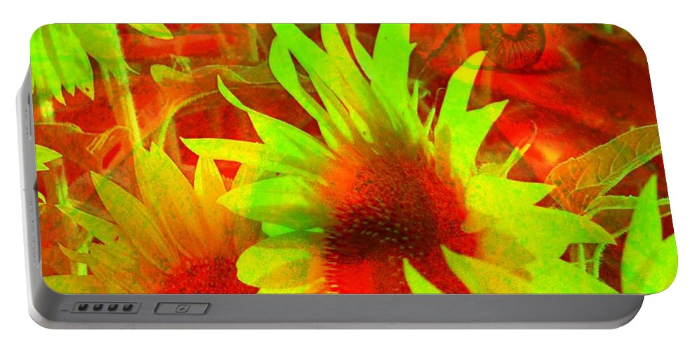 Sunflowers Portable Battery Charger featuring the digital art Garden Guardian 4 by Elizabeth McTaggart