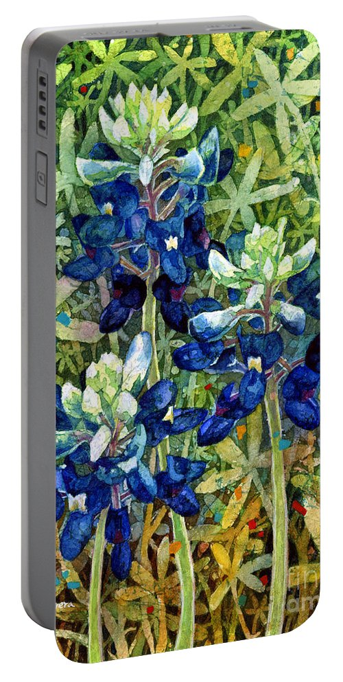 Bluebonnet Portable Battery Charger featuring the painting Garden Jewels I by Hailey E Herrera