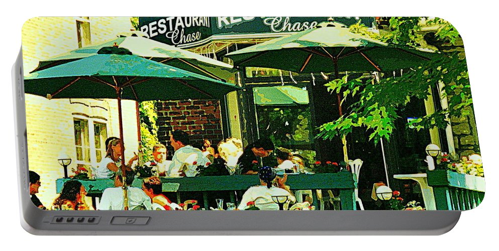 Cafe Portable Battery Charger featuring the painting Garden Party Celebrations Under The Cool Green Umbrellas Of Restaurant Chase Cafe Art Scene by Carole Spandau