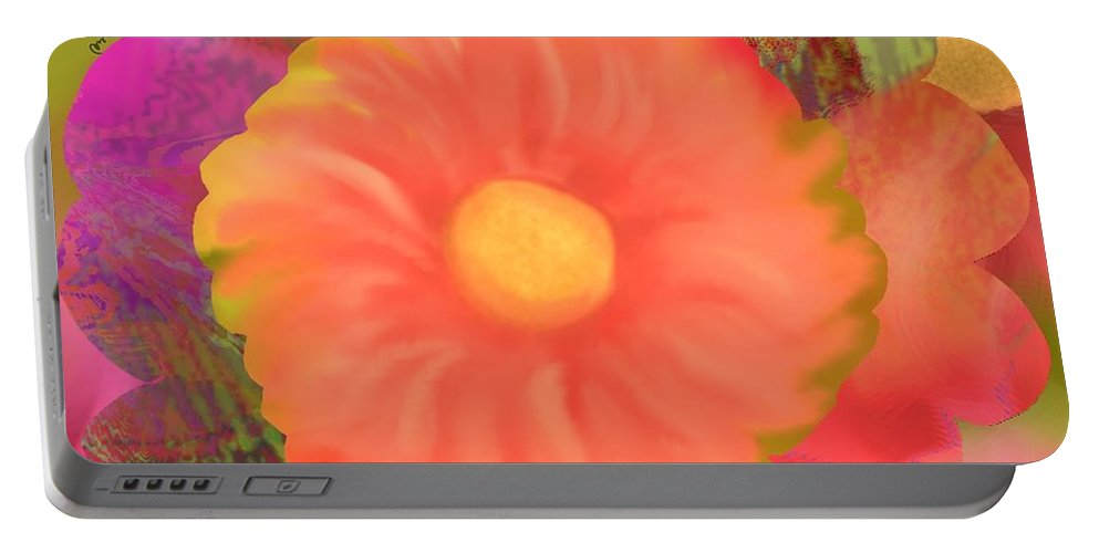 Dahlia Portable Battery Charger featuring the digital art Garden Party IIi by Christine Fournier