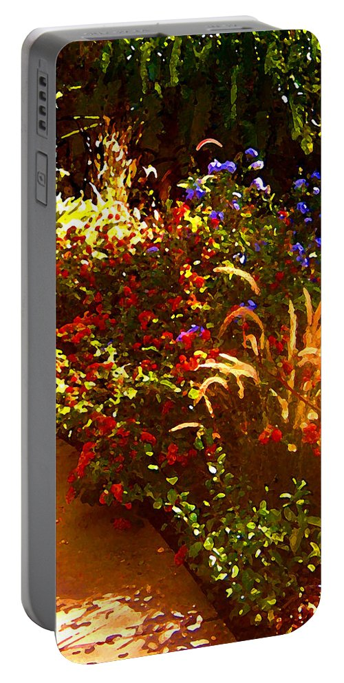 Portable Battery Charger featuring the painting Garden Pathway by Amy Vangsgard