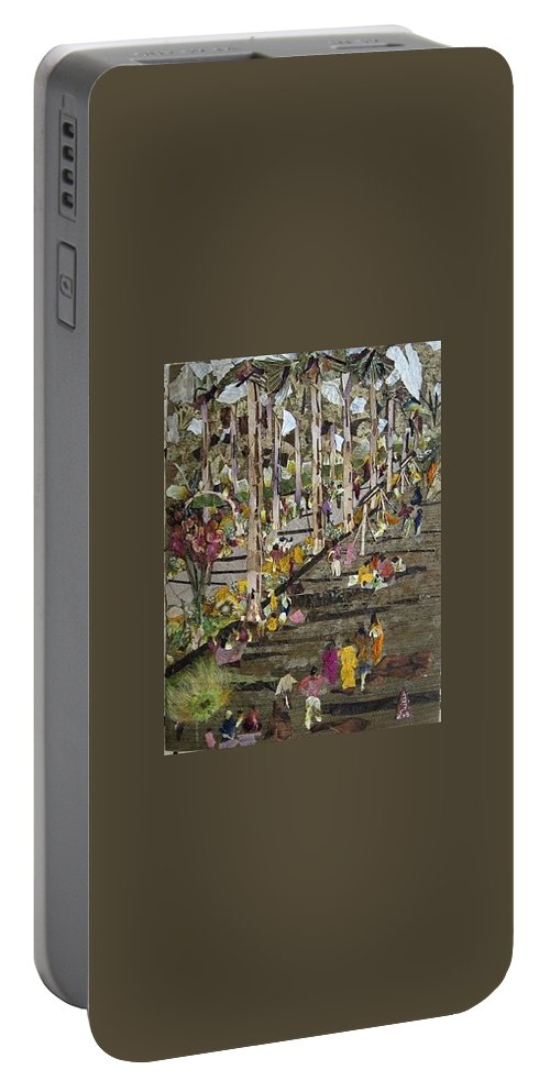 Garden Morning View Portable Battery Charger featuring the mixed media Garden Picnic by Basant Soni
