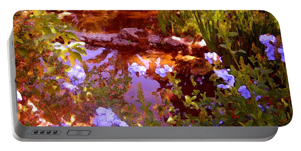 Landscapes Portable Battery Charger featuring the painting Garden Pond by Amy Vangsgard