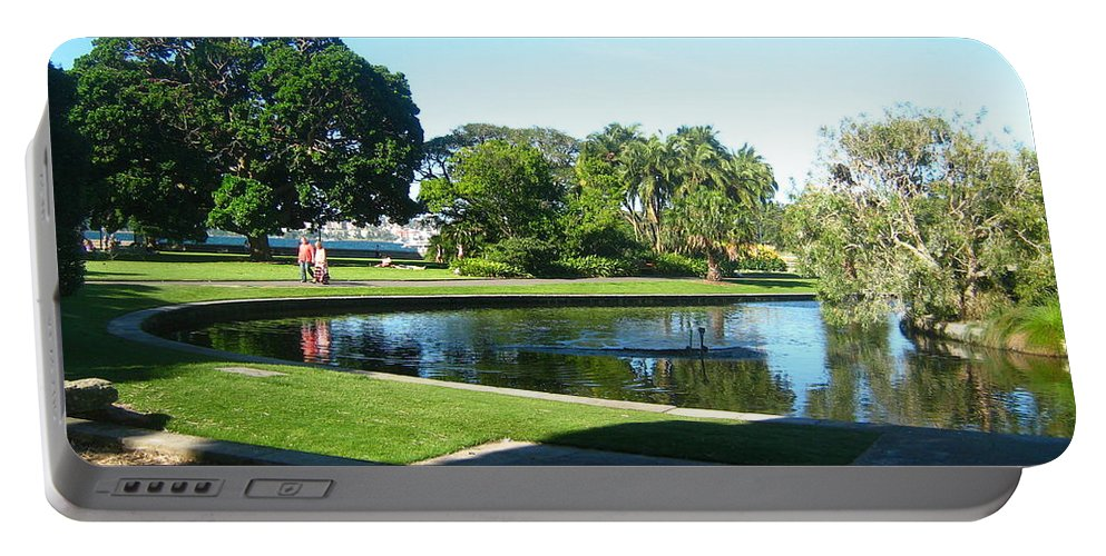 Pond Portable Battery Charger featuring the photograph Sydney Botanical Garden Lake by Leanne Seymour