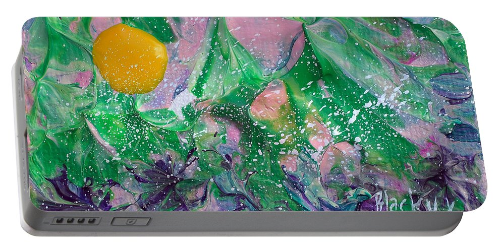 Bold Abstract Portable Battery Charger featuring the painting Garden Sun by Donna Blackhall