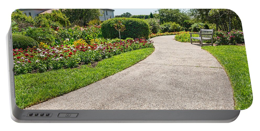 Walkway Portable Battery Charger featuring the photograph Garden Walkway by Jamie Pham