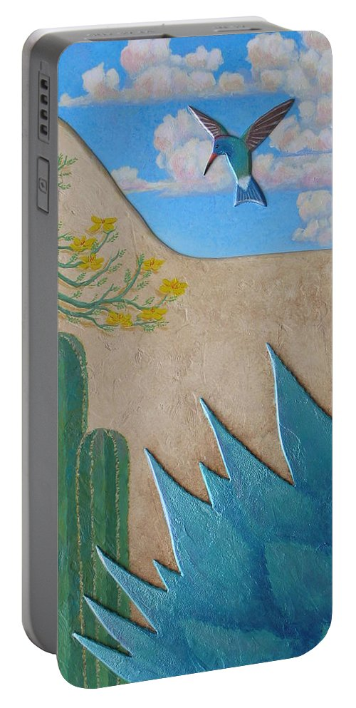 Hummingbird Portable Battery Charger featuring the painting Garden Wall by Jeff Sartain