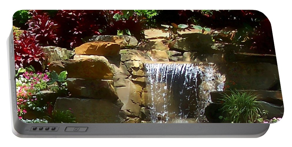 Garden Portable Battery Charger featuring the photograph Garden Waterfalls by Pharris Art