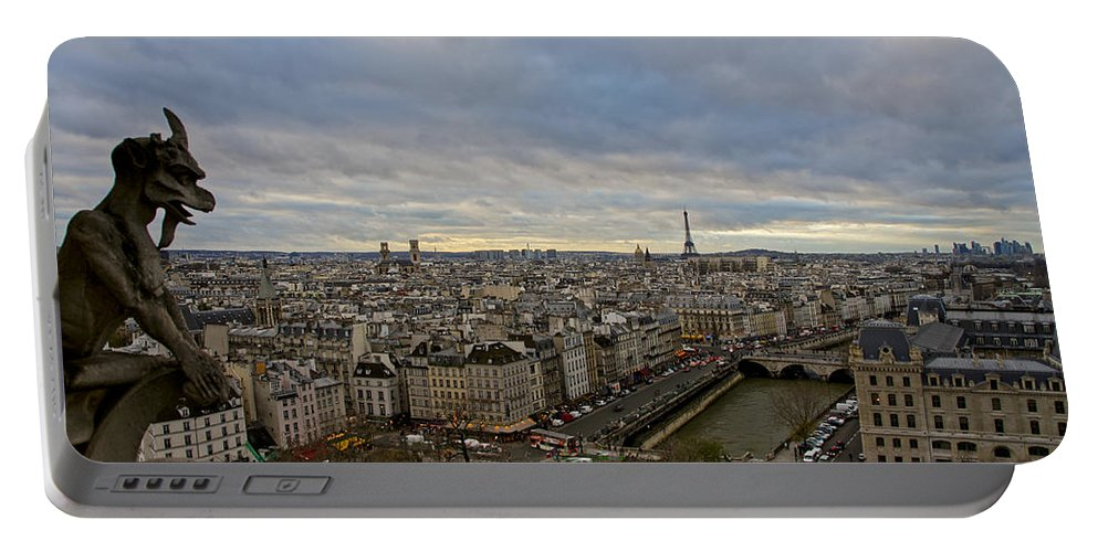 Eiffel Tower Portable Battery Charger featuring the photograph Gargoyle And The Eiffel Tower by Brian Kamprath