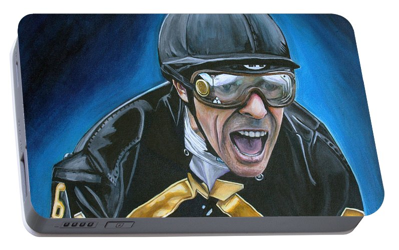 Jockey Portable Battery Charger featuring the painting Gary Stevens by Kate Fortin