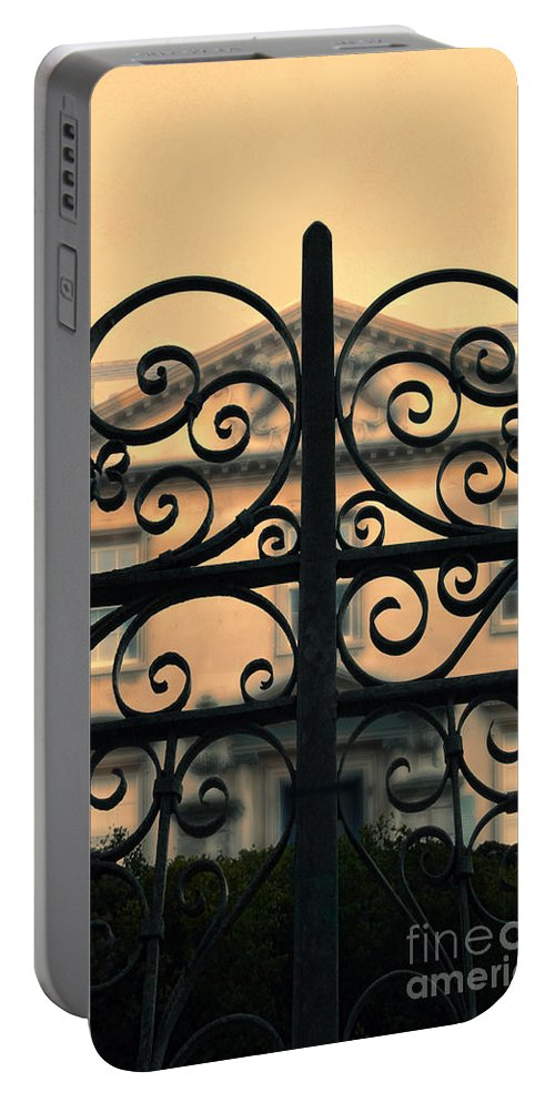 House Portable Battery Charger featuring the photograph Gate In Front Of Mansion by Jill Battaglia