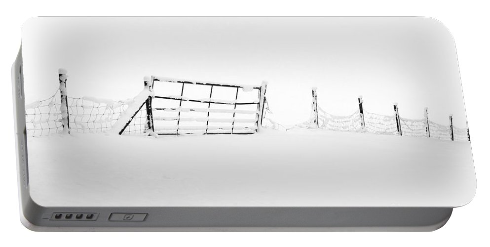 Annegilbert Portable Battery Charger featuring the photograph Gate In Snow by Anne Gilbert