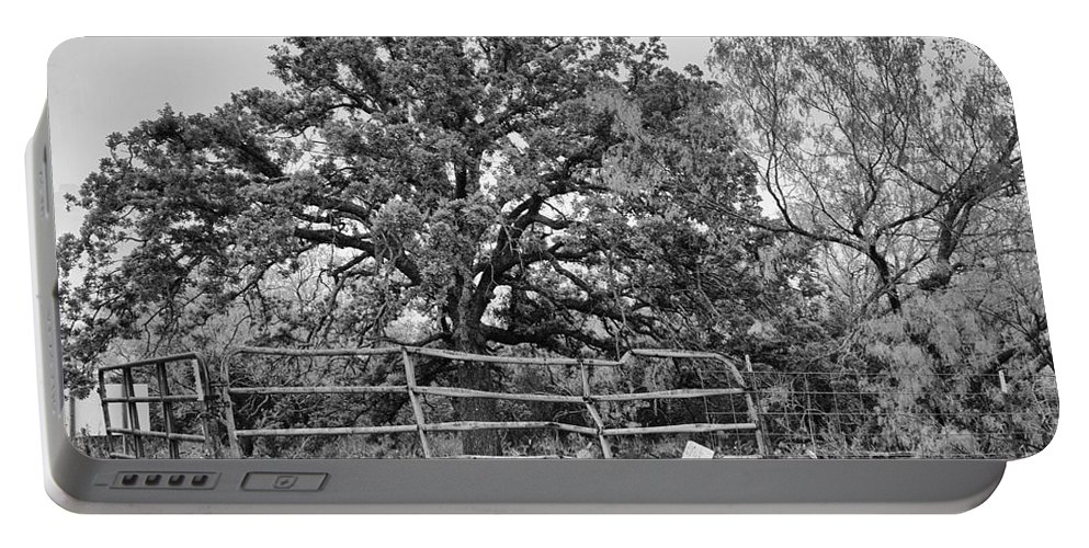 Wildflowers Portable Battery Charger featuring the photograph Gated Black And White Magic by Douglas Barnard