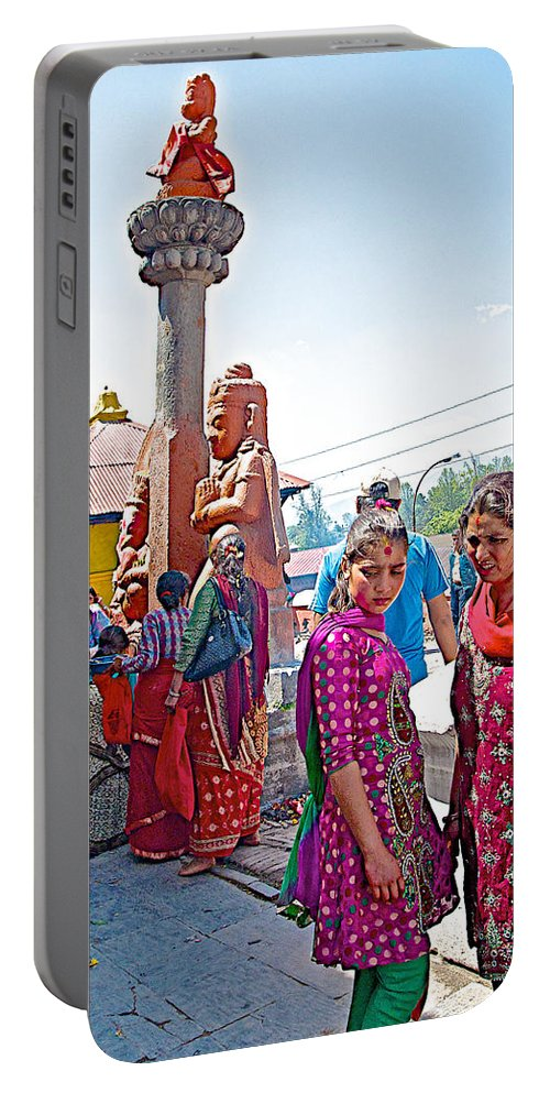 Gathering At Hindu Festival Of Ram Nawami Along The Bagmati River In Kathmandu In Nepal Portable Battery Charger featuring the photograph Gathering At Hindu Festival Of Ram Nawami In Kathmandu-nepal by Ruth Hager