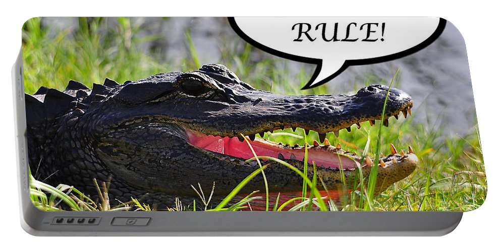 Gators Rule Portable Battery Charger featuring the photograph Gators Rule Greeting Card by Al Powell Photography USA